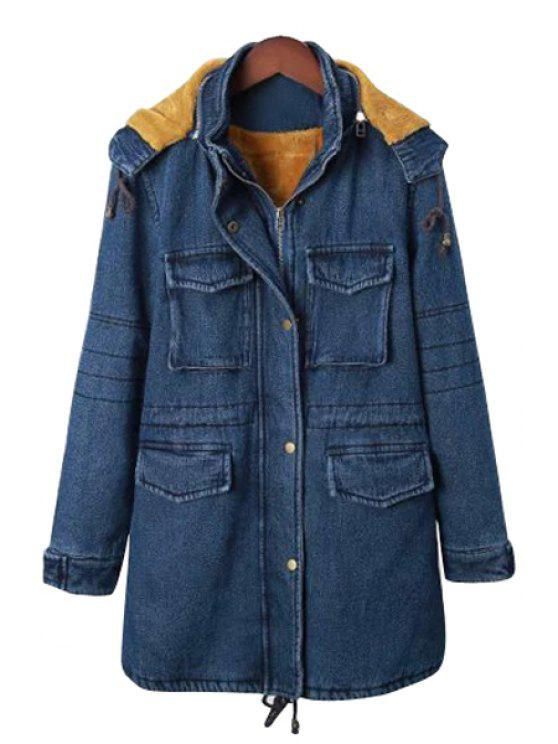 chic Blue Hooded Long Sleeve Denim Coat - AS THE PICTURE M