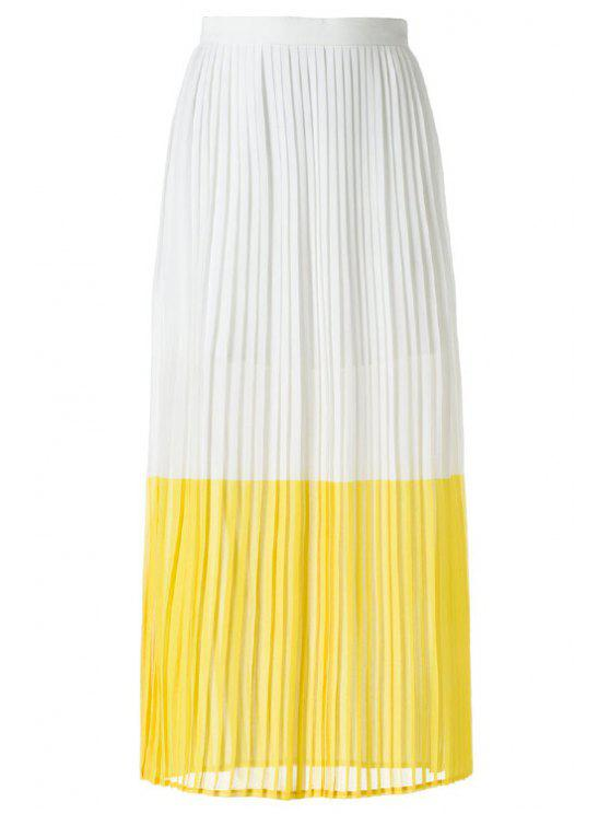 sale Color Block Chiffon Long Skirt - WHITE L