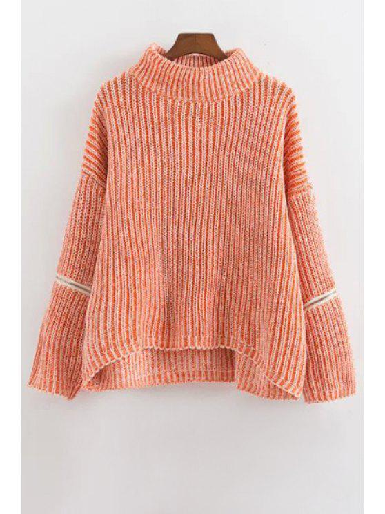 affordable Zipper Turtle Neck Long Sleeves Jumper - PINK ONE SIZE(FIT SIZE XS TO M)