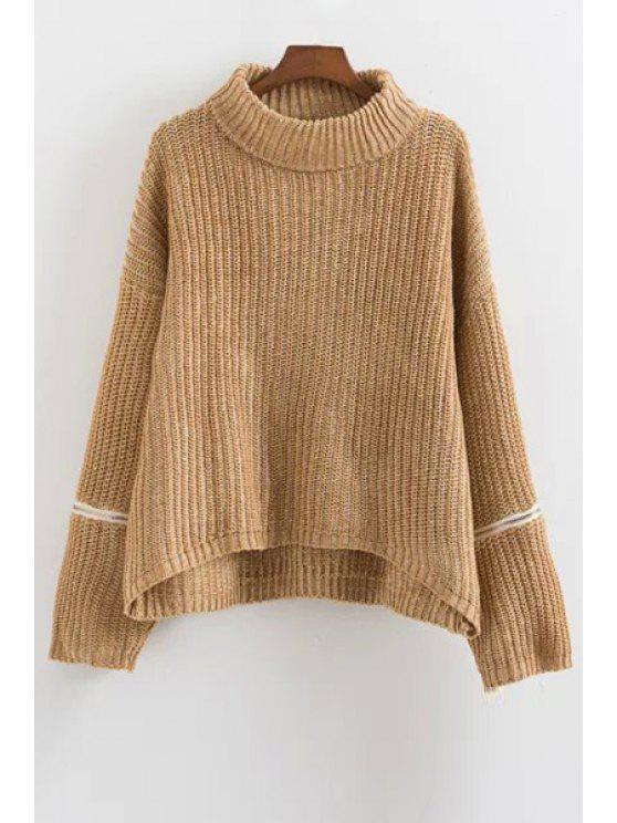 Pullover mit Rollkragen und Reißverschluss am Langarm - Khaki Einheitsgröße(Geeign