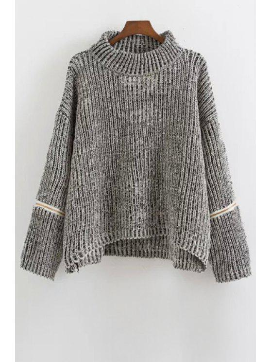 Zipper Turtle Neck Long Sleeves Jumper - gris Taille Unique(S'adap