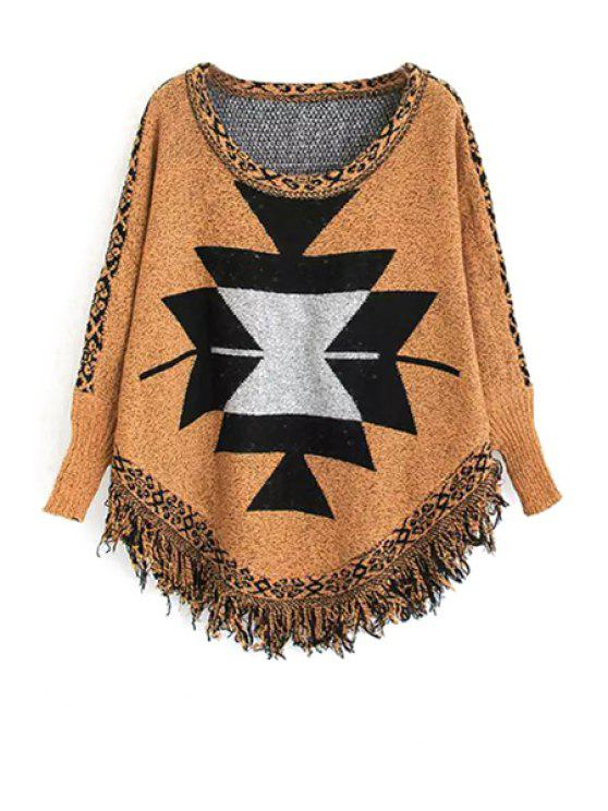 shop Geometric Pattern Bat-Wing Sleeve Jumper - YELLOW ONE SIZE(FIT SIZE XS TO M)