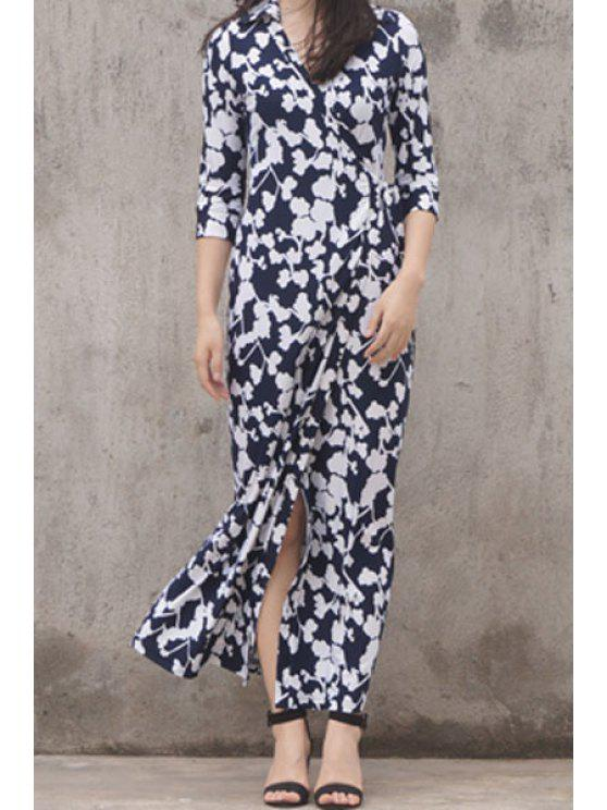 shops Floor-Length Floral Wrap Dress - BLUE AND WHITE XS