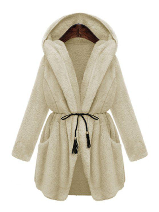 womens Hooded Thicken Faux Fur Solid Color Coat - OFF-WHITE S