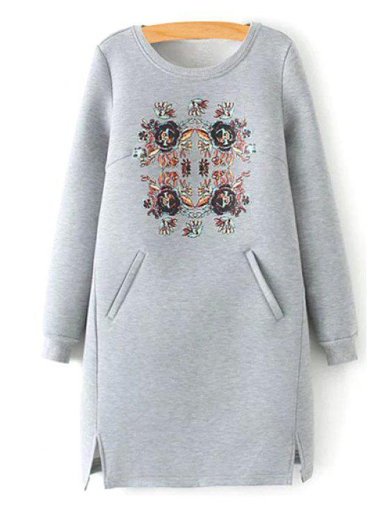 trendy Floral Scoop Neck Long Sleeve Dress - GRAY S