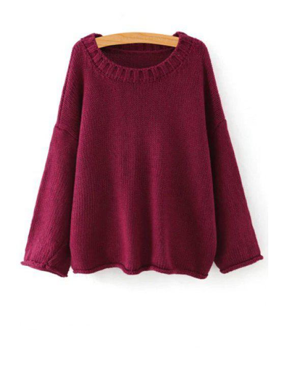 chic Pure Color Scoop Collar Long Sleeve Jumper - PURPLISH RED ONE SIZE(FIT SIZE XS TO M)