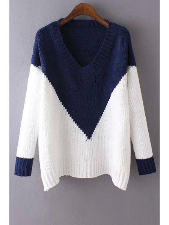 buy Color Block V Neck Long Sleeve Jumper - BLUE AND WHITE ONE SIZE(FIT SIZE XS TO M)