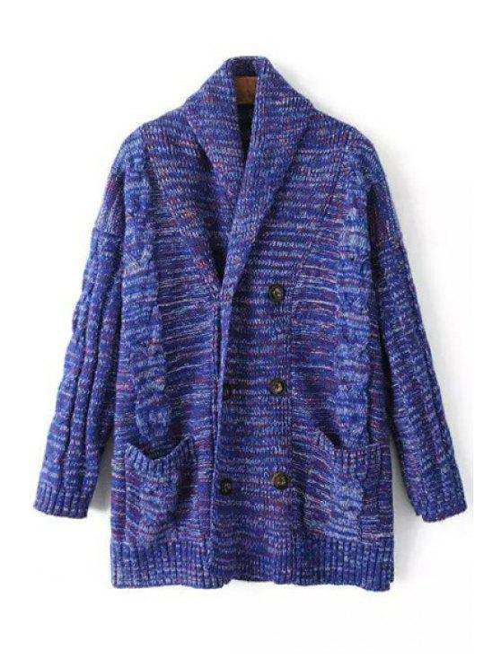 fancy Mixed Color Two Pockets Cardigan - BLUE ONE SIZE(FIT SIZE XS TO M)