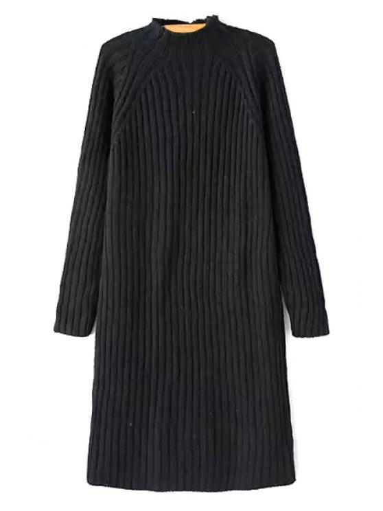 women Solid Color Stand Neck Long Sleeve Sweater Dress - BLACK ONE SIZE(FIT SIZE XS TO M)