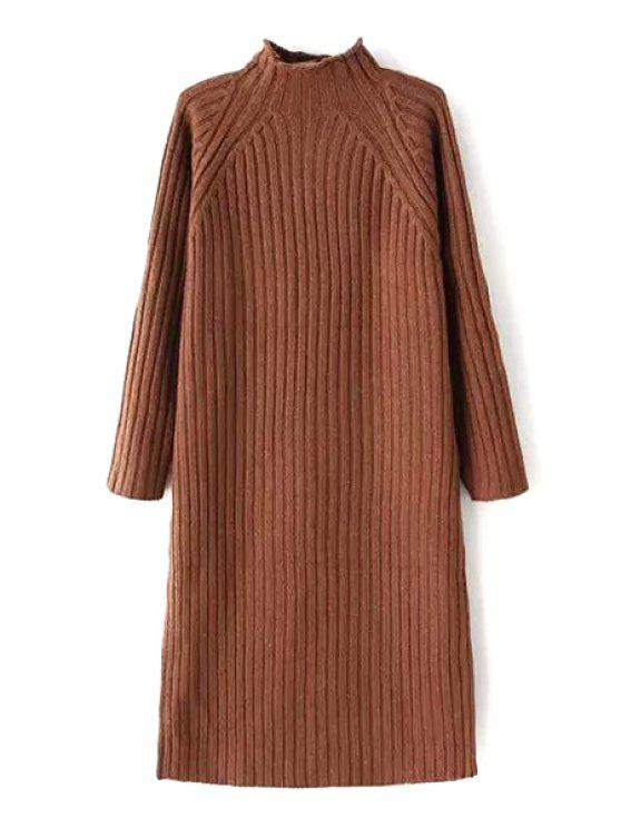 ladies Solid Color Stand Neck Long Sleeve Sweater Dress - BROWN ONE SIZE(FIT SIZE XS TO M)