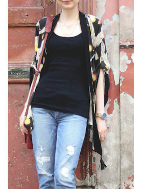 womens Crane Print Drawstring Blouse - BLACK S