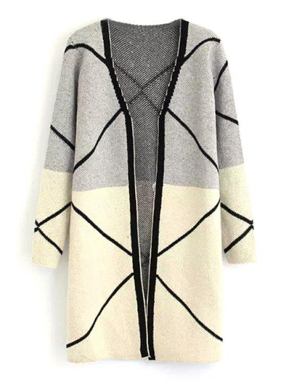 shops Color Block Long Sleeve V Neck Cardigan - GRAY ONE SIZE(FIT SIZE XS TO M)
