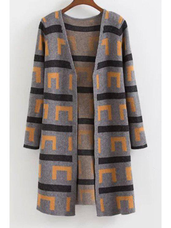 new Geometric Pattern Long Sleeve V Neck Cardigan - CAMEL ONE SIZE(FIT SIZE XS TO M)