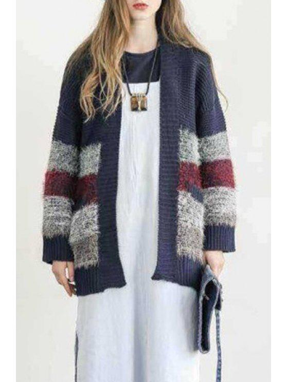 unique Collarless Color Block Cardigan - CADETBLUE ONE SIZE(FIT SIZE XS TO M)