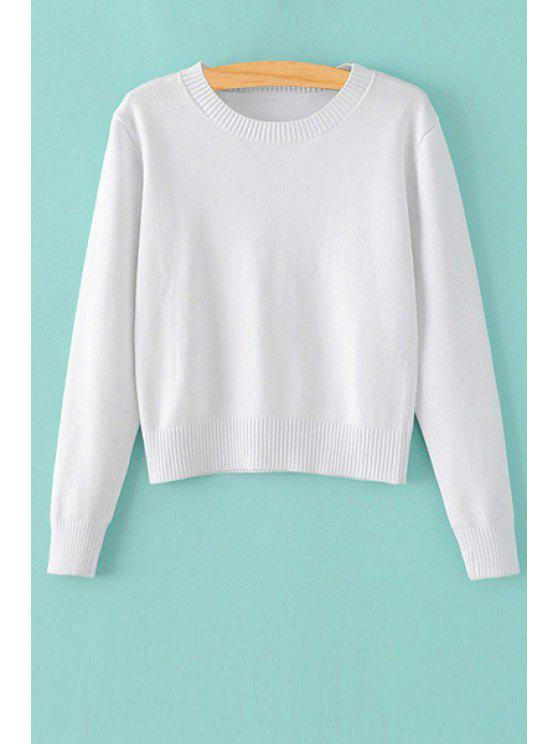 buy Pure Color Jewel Neck Long Sleeve Jumper - WHITE S