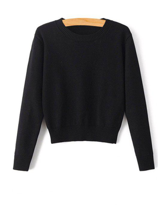 outfit Pure Color Jewel Neck Long Sleeve Jumper - BLACK S