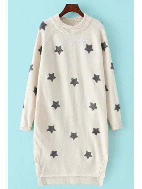 new Star Pattern High Low Long Sweater - WHITE S