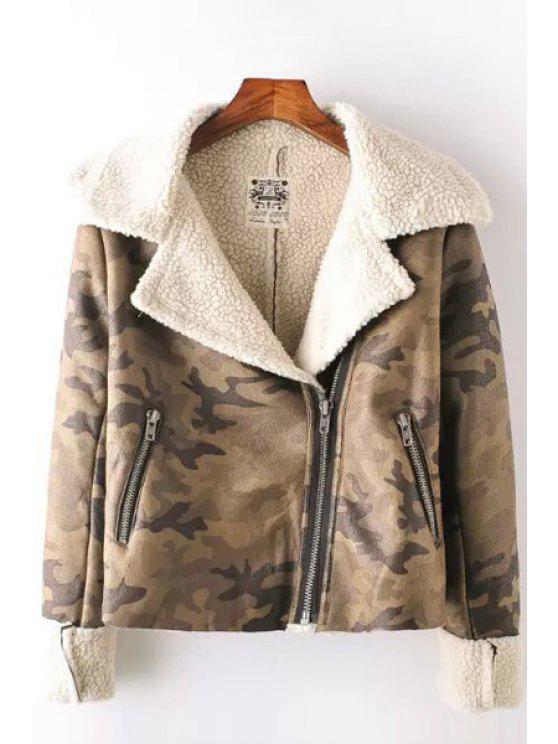 fancy Fleece Lining Suede Camo Jacket - GREEN M