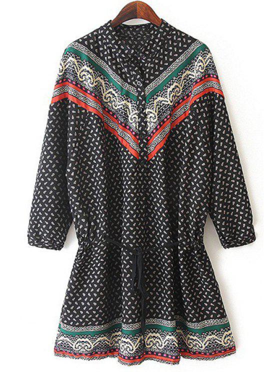 shop Ethnic Drawstring Design Chiffon Dress - BLACK ONE SIZE(FIT SIZE XS TO M)