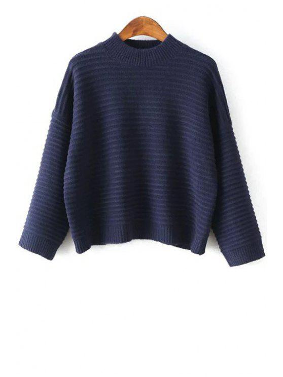 buy Solid Color Loose-Fitting Round Collar Batwing Sleeves Sweater - PURPLISH BLUE ONE SIZE(FIT SIZE XS TO M)