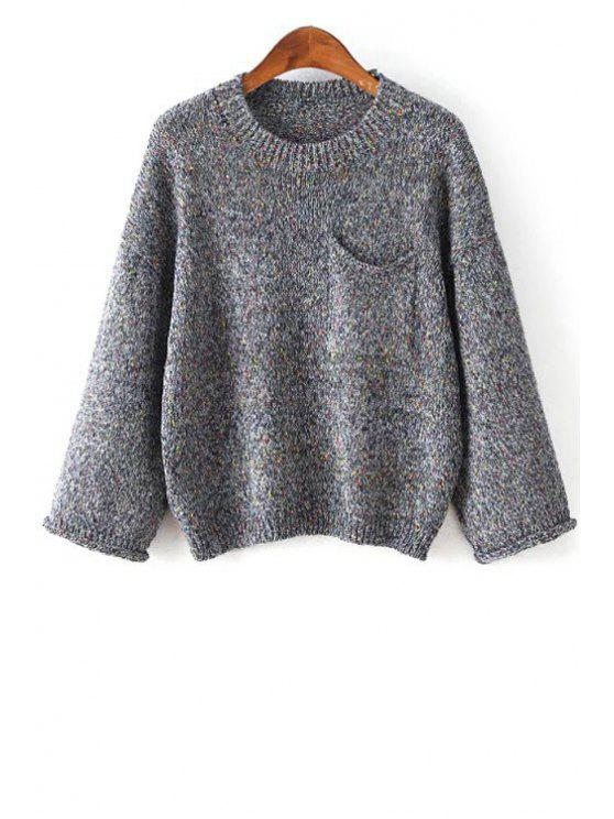 ladies Solid Color Pocket Round Collar Long Sleeves Sweater - DEEP GRAY ONE SIZE(FIT SIZE XS TO M)