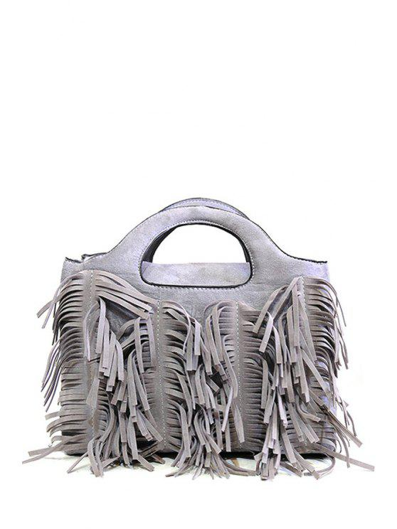 sale Tassel Pure Color Suede Tote Bag - GRAY