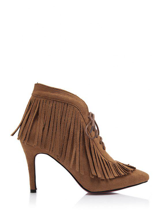 fashion Fringe Suede Pointed Toe Ankle Boots - BROWN 35