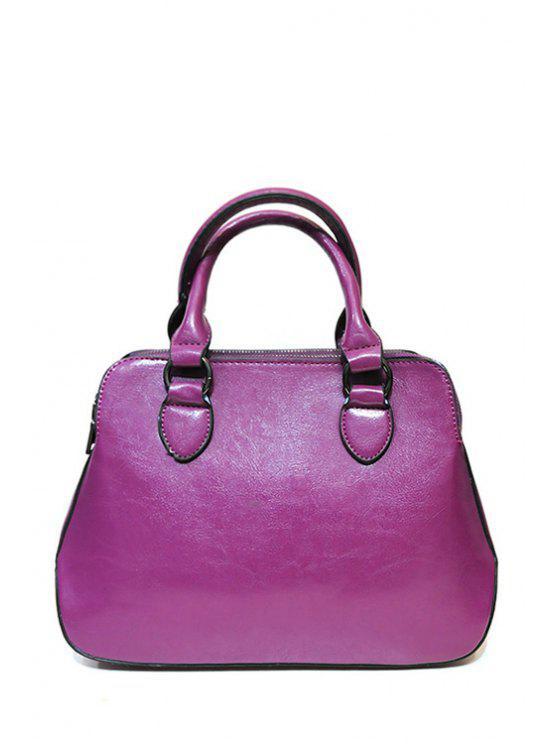 women Pure Color Stitching Zipper Tote Bag - PURPLE