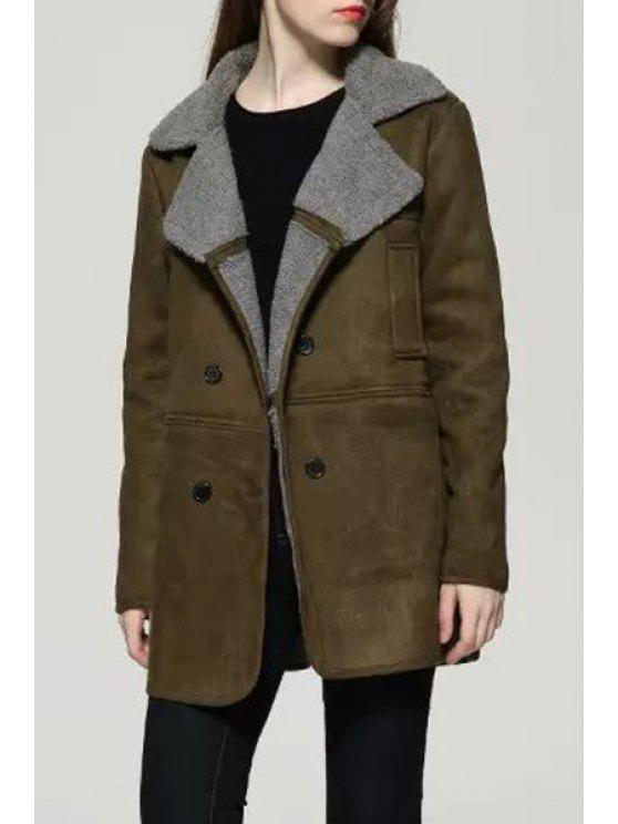 trendy Suede Solid Color Turn-Down Collar Coat - GREEN S