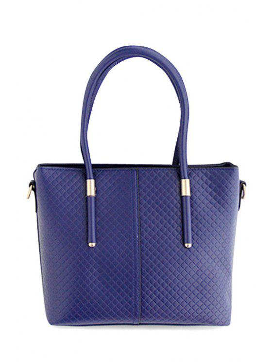 shop Pure Color Metal Argyle Shoulder Bag - BLUE