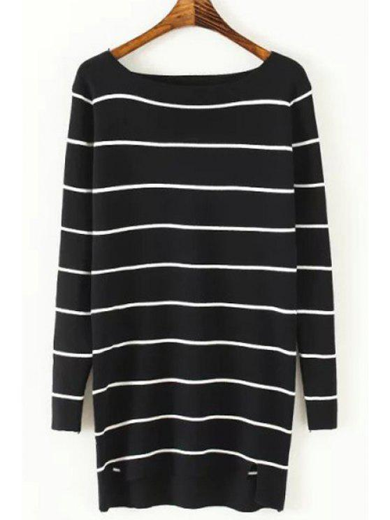 online Striped Side Slit Slash Neck Long Sleeves Sweater - BLACK ONE SIZE(FIT SIZE XS TO M)