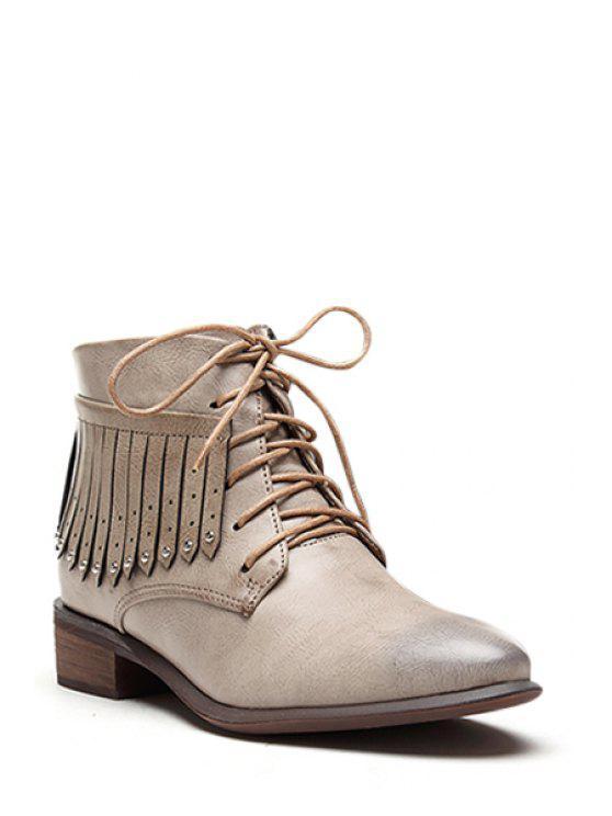 affordable Rivet Fringe Pointed Toe Short Boots - KHAKI 35
