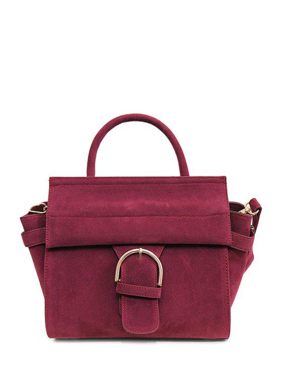 best Pure Color Rivets Suede Tote Bag - WINE RED