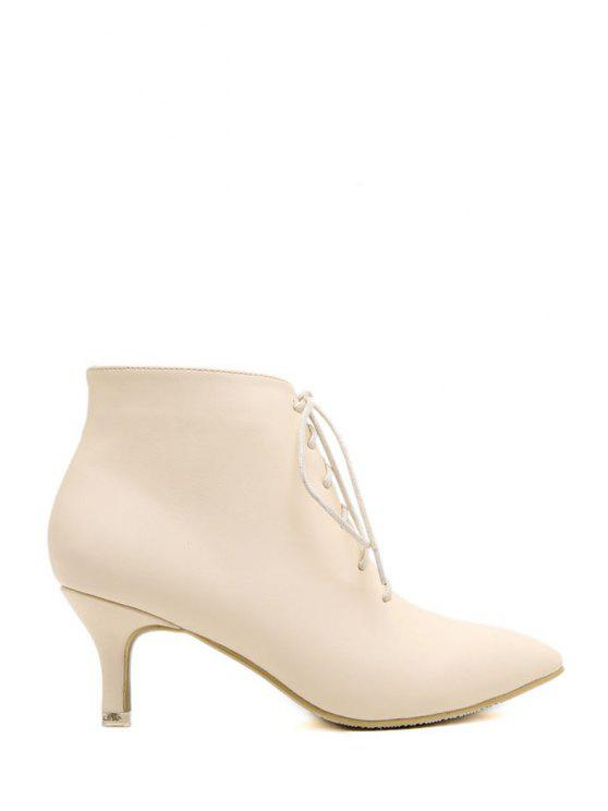 ladies Solid Color Lace-Up Pointed Toe Ankle Boots - APRICOT 34
