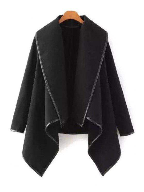 trendy Large Lapel Irregular Hem Wool Coat - BLACK S
