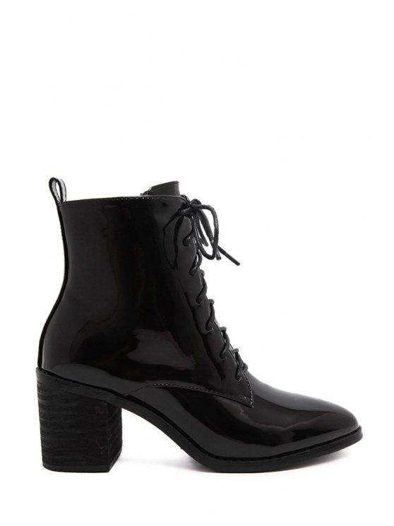 fashion Chunky Heel Black Patent Leather Short Boots - BLACK 35