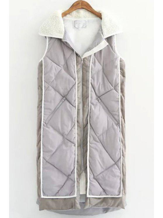shops Hooded Neck Faux Fur Thicken Long Waistcoat - OFF-WHITE S