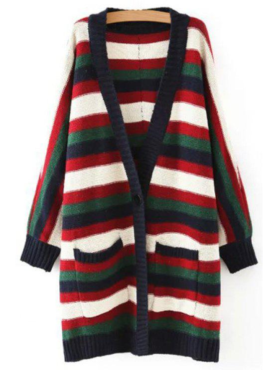 trendy Big Pockets Striped Longline Cardigan - PURPLISH BLUE ONE SIZE(FIT SIZE XS TO M)