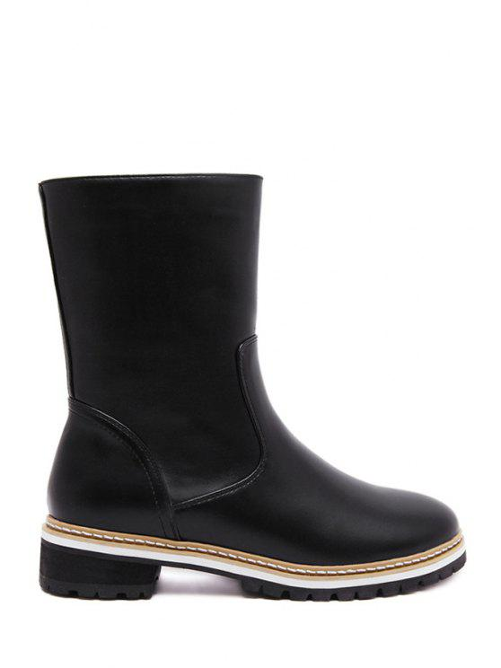 buy Solid Color PU Leather Mid-Calf Boots - BLACK 35