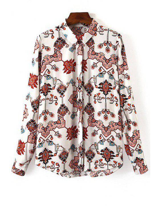 shop Printed Single-Breasted Shirt - WHITE S