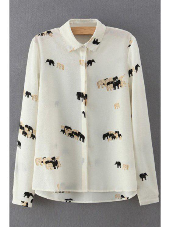 trendy Elephant Print Single-Breasted Chiffon Shirt - WHITE S