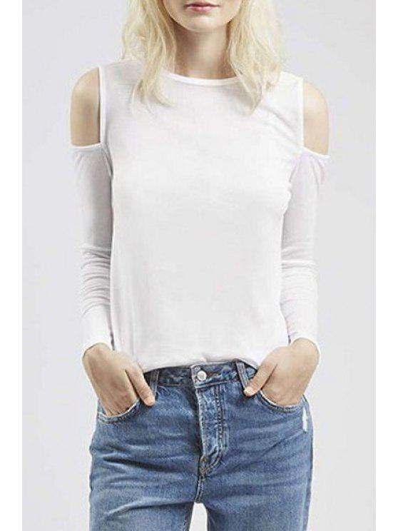 outfit Cut Out Round Neck Long Sleeve T-Shirt - WHITE S