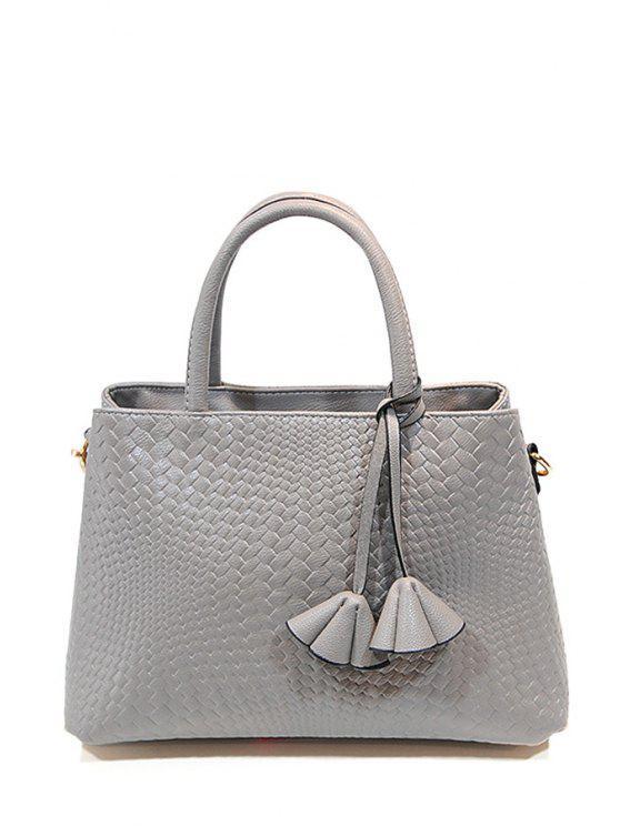 best Weaving Pure Color Pendant Tote Bag - GRAY