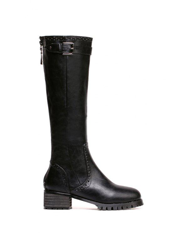 buy Engraving Black Buckle Mid-Calf Boots - BLACK 36