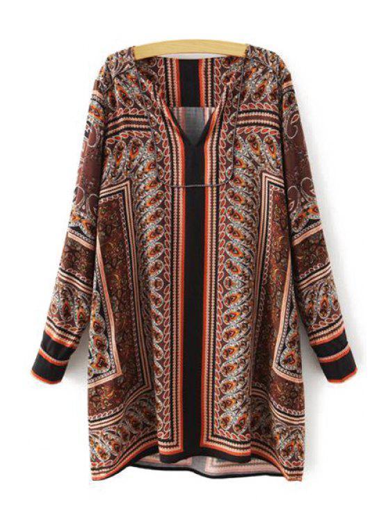 shop Paisley Print Straight Dress - BROWN L