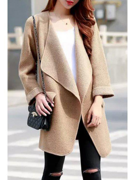 shops Solid Color Turn Down Neck Long Sleeve Cardigan - KHAKI ONE SIZE(FIT SIZE XS TO M)