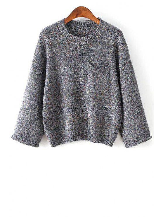 fancy Pure Color Long Sleeve Pocket Jumper - DEEP GRAY ONE SIZE(FIT SIZE XS TO M)