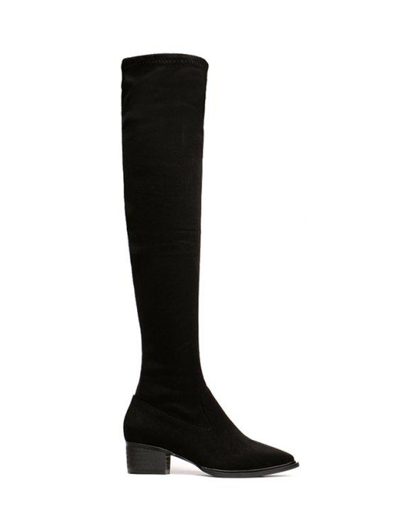 ladies Suede Black Pointed Toe Thigh Boots - BLACK 35