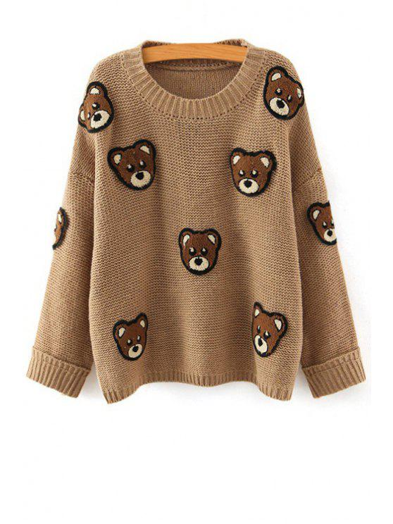 women's Bear Pattern Scoop Neck Long Sleeve Jumper - KHAKI ONE SIZE(FIT SIZE XS TO M)