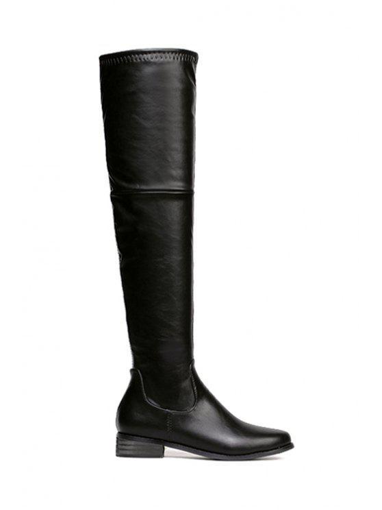 hot Black Zipper PU Leather Thigh Boots - BLACK 35
